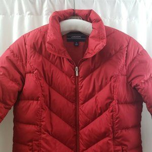 Lands End Down Jacket Red Puffer Quilted Full Zip
